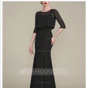 Long Formal Black Gown W/Sleeves